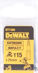 dewalt torx impact 25mm t15 dt7380-qz (set van 5 stuks)