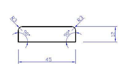 MDF Koplat recht Gegrond KO1,JT9 FSC 12x45x4880mm