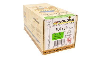 WOODIES Ultimate Verzonken Kop RVS A2 5,0x60mm Torx 25