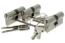 NEMEF Profielcilinder Type 111/9 Gelijksluitend SKG2 Vernikkeld 60mm