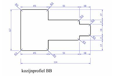 Meranti Kozijnprofiel Tussenstijl BB PEFC 67x114x3050mm