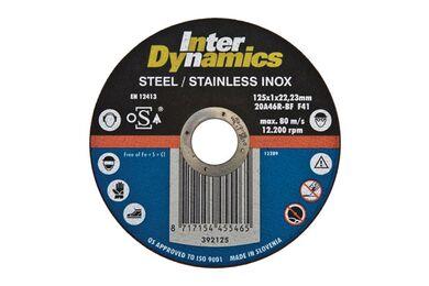 INTERDYNAMICS Doorslijpschijf Inox 125x1mm