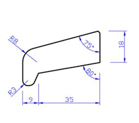 Meranti glaslat gevingerlast n35 80mu gegrond  18x49,9x4000