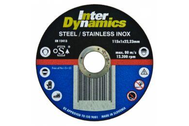 INTERDYNAMICS Doorslijpschijf Inox 115x1mm