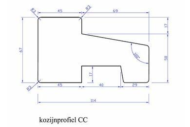 Meranti Kozijnprofiel Onderdorpel CC PEFC 67x114x2450mm