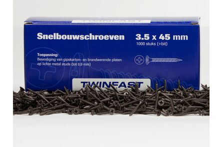 pontmeyer snelbouwschroeven twinfast fijne spoed 3,5x45mm 1000st