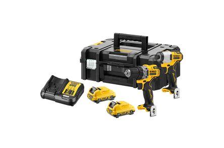 dewalt combopack xrdck2110l2t-qw 12v 2x3,0ah in koffer