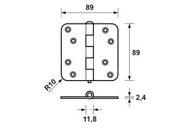 AXA Scharnier Ronde Hoek 1105-25-23E Verzinkt 89x89mm