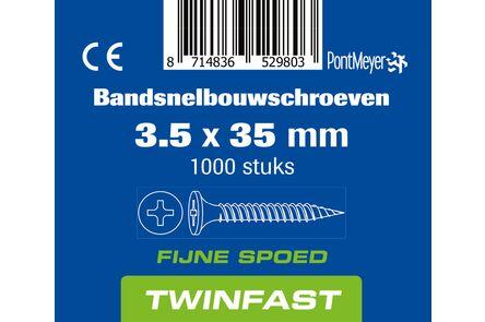 pontmeyer bandsnelbouwschroeven twinfast fijne spoed 3,5x35mm 1000st