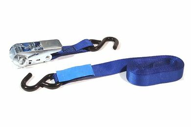 Sjorband Met Ratel + S-Haak 22x5000mm Blauw