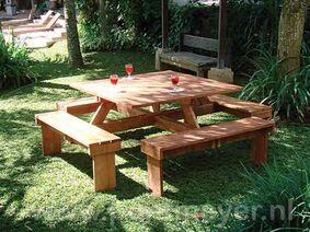 picknicktafel vierkant hardhout 2100x2100x750