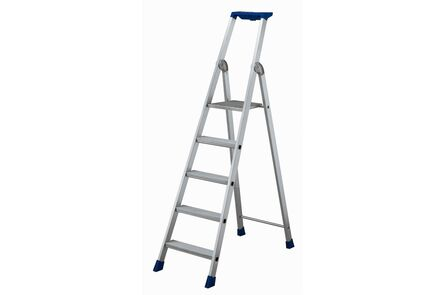 trap aluminium met blauwe aflegbak 3 treden