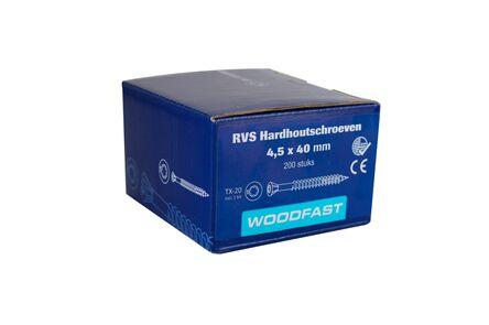 woodfast hardhoutschroef torx t20 4,5x40mm rvs 200st