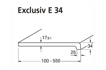 werzalit vensterbank excl e34/4 glad zijdemat 001 wit 4250x300mm