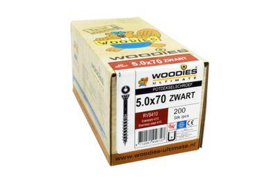 WOODIES Potdekselschroef Torx T25 5,0x70/40 RVS 410 Ral 9005