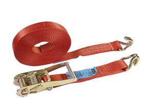 sjorband ratel met gesloten draadhaak 50mm rood 8,5m