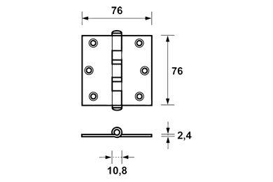 AXA Kogellagerscharnier 1531-24-23E Verzinkt 76x76mm