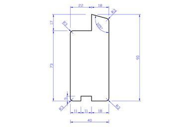 Hardhout Raamprofiel Onderdorpel RP2 (Enkelglas) 40x90x2750mm