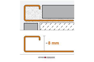 SCHLÜTER Tegelprofiel Vierkant RVS Geborsteld 8x3000mm