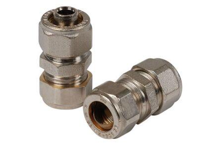 overgangkoppeling nikkel kunststof naar koper/staal 2x knel (set van 2 stuks)