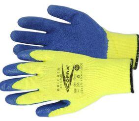 handschoen thermo latex gecoat geel/blauw maat 10