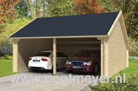 garage-kapschuur 70mm nysse 6000x6000x3410 inclusief dakshingles