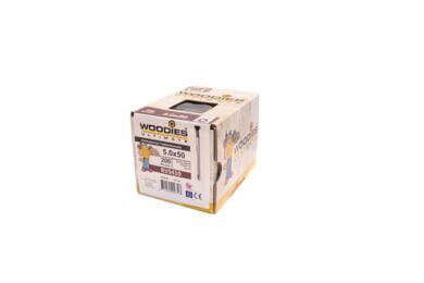 WOODIES Potdekselschroef 5,0x50/30 RVS 410 RAL 9005 Zwart ( 200 Stuks )
