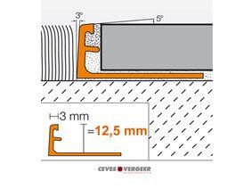 schluter tegelprofiel aluminium geanodiseerd recht 12,5x3000mm