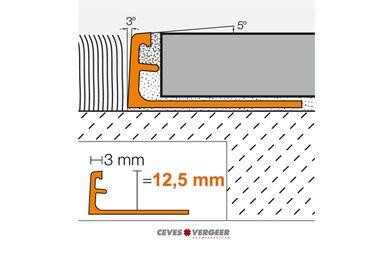 SCHLÜTER Tegelprofiel Recht Aluminium Geanodiseerd 12,5x3000mm