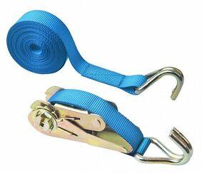 sjorband ratel met j-haak 25mm blauw 5m