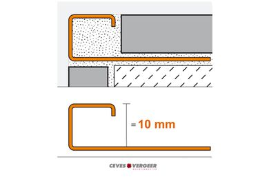 SCHLÜTER Tegelprofiel Vierkant RVS Geborsteld 10x3000mm