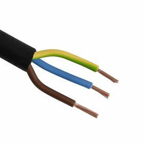 kabel rond rubber 3x1mm² zwart 20m