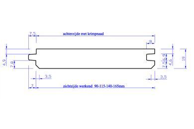 Vuren Klasse B GG Velling G28 Gegrond (18x115) PEFC 22x125x4500mm