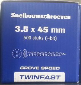 pontmeyer snelbouwschroeven twinfast grove spoed 3,5x45mm 500st