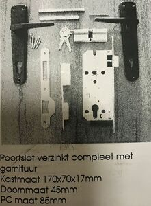 poortslot pc85 met garnituur 45mm
