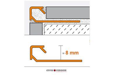 SCHLÜTER Tegelprofiel Vierkant Aluminium Geanodiseerd 8x3000mm